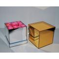 Boîte-cadeau de miroir en or acrylique pour fleur