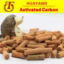 Carvão ativado em pelotil amarelo para edulcoração / desulfuração