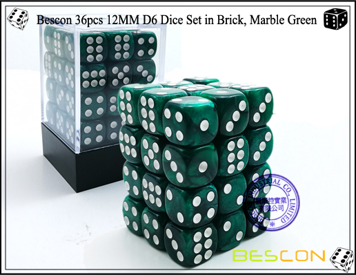 Bescon 36pcs 12MM D6 Dice Set in Brick, Marble Green-1