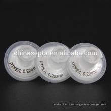 25мм Шприцевые фильтры Гидрофильного ПТФЭ ПП 0,22 мкм Размер пор для инъекций