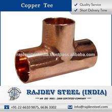 High Functionality Perfect Finish Copper Tee for Various Industrial Applications