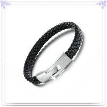 Presentes de moda Pulseira de couro da jóia do aço inoxidável (LB111)