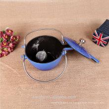 2015 Nueva caldera de té personalizada del hierro fundido de la tetera del arrabio del esmalte del esmalte