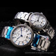 Relógios de pulso de aço inoxidável do metal da qualidade para homens e senhoras
