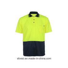 T-shirt à polir de sécurité réfléchissante à haute couture à manches courtes