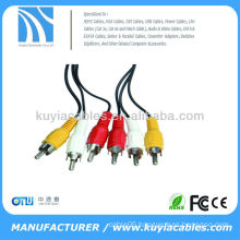 3RCA to 3RCA CABLE COMPOSITE AUDIO VIDEO GOLD AV EXTENSION CABLE for TV DVD LCD SWITCH NEW
