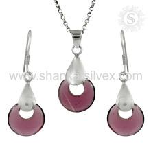 La joyería de plata de la piedra preciosa del atontamiento fijó 925 joyería al por mayor de la joyería de la plata