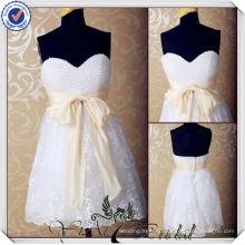 JJ3562 Lace skirt Peal bodice Knee Length sexy short mini white wedding dress Short