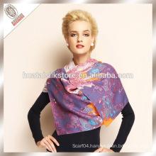 Ladies fashion 100% wool shawl scarf wholesale woolen stole