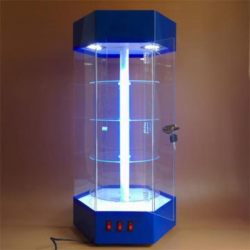 Hexagon Acrylic LED Display Case Rotating Cabinet Shelf