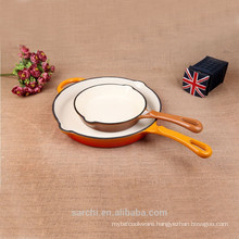 Round Cast Iron Enamel Frying Pan With One Long Handle