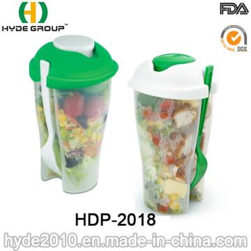 Copo quente do abanador do plástico do recipiente da salada das vendas com forquilha (HDP-2018)