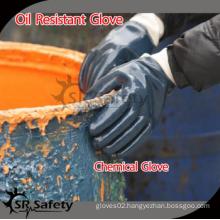 SRSAFETY EN388 4111 high quality heavy duty nitrie work glove/blue nitrile industry glove