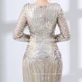 2018 hot sell sequins prom dress OEM design long sleeve muslim evening dress