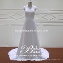 Stilvolles recht dünnes A-Linie Brautkleid Großhandelsalibaba helles Elfenbein kundenspezifisches Hochzeitskleid