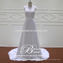 Vestido de noiva elegante e magro A-Line atacado alibaba vestido de noiva personalizado com marfim claro