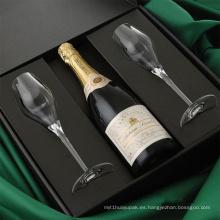 Cajas de embalaje de vinos impresas en papel negro con inserto