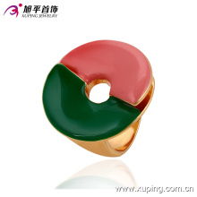 13703 Hot sale new design ladies jewelry big circle shaped pink and green color finger ring