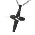 Moda simples banhado a preto pendente cruz lateral e encantos para jóias