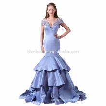 2017 novo design elegante barato cap manga profunda v pescoço meninas sereia vestido de dama de honra