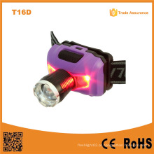 T16D poderoso XPE LED + 2red SMD telescópico LED farol AAA bateria