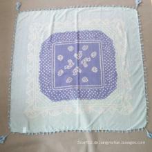 Frau Silk Baumwolle bedruckte blauen Schal