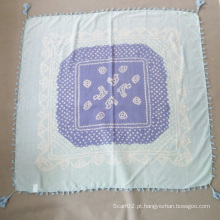Senhora Silk Cotton Printed Blue Scarf