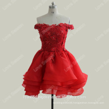 RP0104 100% real customed organza short sexy off shoulder beaded lace red homecoming dresses