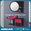 Modern Wall Mounted Stainless Steel Frame Tempered Glass Toilet Vanity