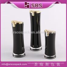 China fábrica de acrílico garrafas de cosméticos para loção, balck plástico vazio recipiente de cosméticos