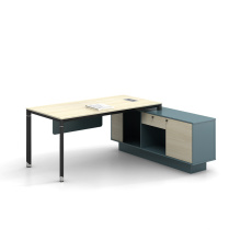 Simple Metal Frame Melamine Desktop L Shape Office Desk Manager Desk