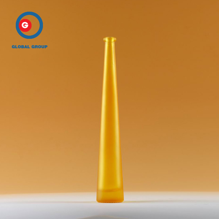 Narrow Mouth Orange Ice Wine Bottle Long Neck Glass Bottle