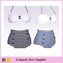 2016 Hot Sale Trendy Navy Designs Bleu et blanc Stripes Tankini Bikini à haute taille Shorts