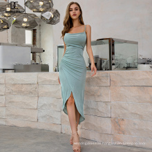 Weixin Shein Knitted Dresses Women Elegant Halter Sexy Layered Drape Neck Ruched Detail Wrap Bodycon Dresses