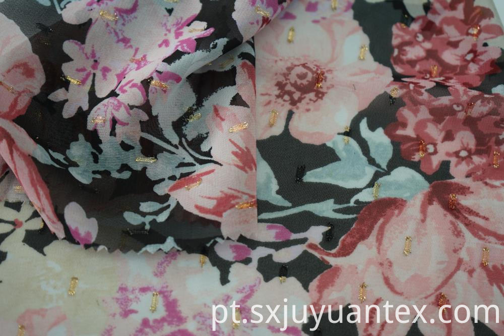 Polyester Gold Lurex Print Fabric