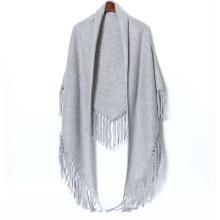 PK18CH008 100% cashmere knit poncho triangle shawl tassel fringe poncho