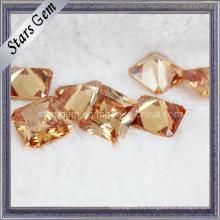 Princesa Cuadrado Encantador Champagne Cubic Zirconia Gemstone for Jewelry