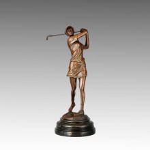 Deportes Escultura de bronce Jugador de golf tallado decoración estatua de latón, Milo TPE-748