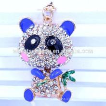 Fashion Yiwu jewelry 2015 best seller OEM panda crystal metal keychain wholesale