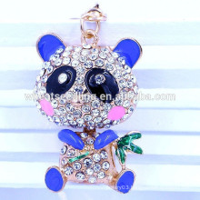 Fashion Yiwu jewelry 2015 best selling OEM panda crystal metal keychain wholesale
