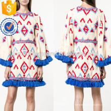 Объемные разноцветные кисточкой отделкой Расклешенная с длинным рукавом летний мини-платье Производство Оптовая продажа женской одежды (TA0008D)