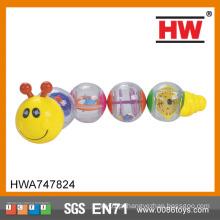 Hot Sale plástico brinquedo chocalho sino plástico bebê brinquedo caterpillar brinquedos