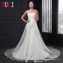 Z-002 Elegante Abierto De Tulle De Encaje Apliques Sirena Vestido De Novia 2016