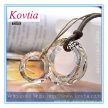 Colar de moda 2014 anel de cristal pingente de couro corda casal colar