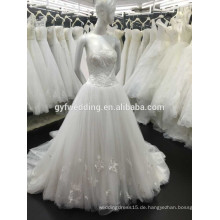 Guangzhou Hochzeit Fctory a-line trägerlosen Ausschnitt bodenlangen Spitze billig nach Maß Brautkleid Brautkleid P1000