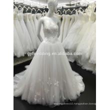 Guangzhou Wedding Fctory A-line Strapless Neckline Floor-Length Lace Cheap Custom Made Wedding Dress Bridal Dress P1000