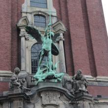 Estilo europeu antigo edifício decoração vida tamanho bronze estátua de anjo