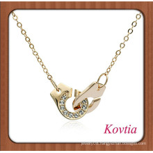 personalized fashion crystal gold locking handcuff chain necklace