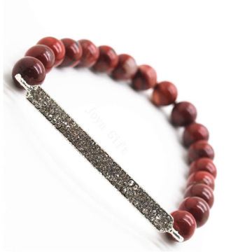 Red Jasper 8MM Round Beads Stretch Gemstone Bracelet with Diamante Piece