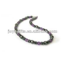 Ожерелье из аметиста с магнитным гематитом из бисера